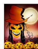 Spooky Halloween night with zombie and pumpkins. Royalty Free Stock Photography