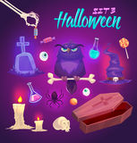 Spooky Halloween objects. Vector illustration. Set of Halloween Design Elements. Vector illustration Stock Photo