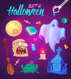 Spooky Halloween objects. Vector illustration Royalty Free Stock Photos