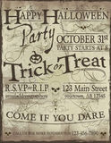 Spooky Halloween party invitation. Fun hand lettering Happy Halloween party invitation template vector illustration