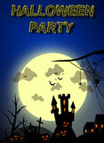 Spooky Halloween party invitation illustration. With big moon, castle, cemetary and pumpkins Royalty Free Stock Image
