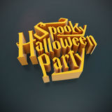 Spooky Halloween Party pumpkin poster template element letters 3 Royalty Free Stock Photos