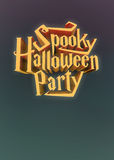Spooky Halloween Party pumpkin poster template letters 3d Royalty Free Stock Image