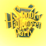Spooky Halloween Party suny poster template letters 3d Royalty Free Stock Image