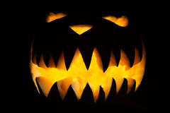 Spooky Halloween pumpkin with fangs Stock Image