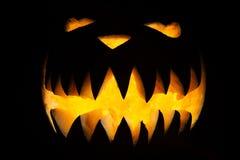 Spooky Halloween pumpkin with fangs Stock Image