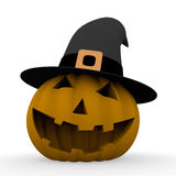 Spooky halloween pumpkin with witch hat Royalty Free Stock Photo