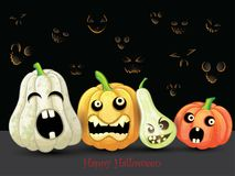 Spooky Halloween pumpkins card. On black background Royalty Free Stock Photography