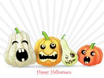 Spooky Halloween pumpkins card. On white background Royalty Free Stock Photography