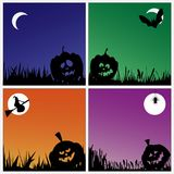 Spooky halloween pumpkins on colorful backgrounds Stock Photos