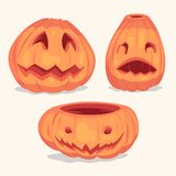 Spooky Halloween pumpkins objects. Royalty Free Stock Images