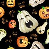Spooky Halloween pumpkins pattern. On black background Royalty Free Stock Photos