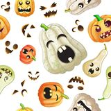 Spooky Halloween pumpkins pattern. On white background Royalty Free Stock Photography