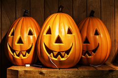 Spooky Halloween pumpkins Royalty Free Stock Photography