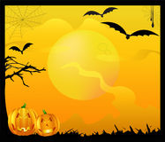 Spooky Halloween Themed Background. Halloween background, vector illustration containing bats, cobwebs, spooky tree and two pumpkins Vector Illustration