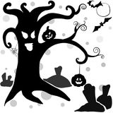 Spooky halloween trees in black. Spooky halloween black trees on white background Stock Image