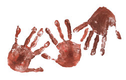 Spooky hands print over white Royalty Free Stock Photos