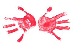 Spooky hands print over white royalty free stock image