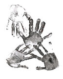 Spooky Hands Print Over White Stock Image