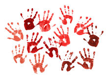 Spooky hands print over white Stock Photo