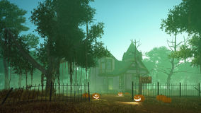 Spooky haunted house at misty dusk. Spooky haunted house with carved Jack-o-lantern Halloween pumpkins on its path and creepy trees around at misty dusk. 3D Royalty Free Stock Images