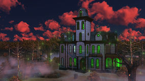 Spooky haunted mansion at eerie sunset. Eerie sunset clouds above spooky mansion surrounded by fantastic creepy trees at misty dusk. Decorative Halloween 3D Royalty Free Stock Photos