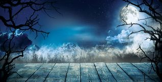 Spooky horror background with empty wooden planks. Dark scary background. Celebration of halloween theme, copyspace for text. Ideal for product placement royalty free stock photos