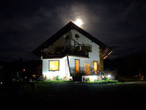 Spooky house. Spooky haunted house at night Royalty Free Stock Images