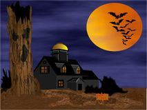 Spooky House. Spooky halloween haunted house with bats and moon Stock Photography