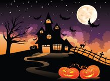 Spooky house. With orange pumpkin and full moon stock illustration