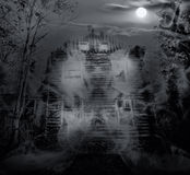 Spooky house double exposure stock image