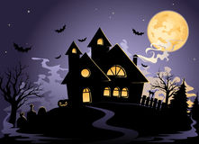 Spooky House at Halloween's night Royalty Free Stock Images