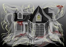 Spooky house illustration Royalty Free Stock Images