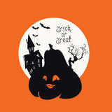 Spooky House Trick Or Treat card design Stock Photo