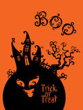 Spooky House Trick Or Treat card design Royalty Free Stock Photo