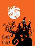 Spooky House Trick Or Treat card design Royalty Free Stock Image