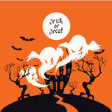 Spooky House Trick Or Treat card design Stock Photography