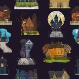 Spooky house vector haunted castle with dark scary horror nightmare on halloween moonlight mystery illustration nightly. Set of creepy building background stock illustration