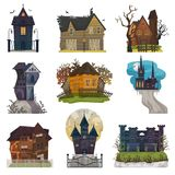 Spooky house vector haunted castle with dark scary horror nightmare on halloween moonlight mystery illustration nightly. Set of creepy building isolated on stock illustration