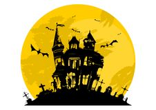 Free Spooky House With Tombstones Stock Image - 117893211