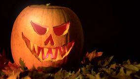 Spooky iluminated Jack O´Lantern halloween pumpkin on dry leaves. Spooky Jack O´Lantern halloween pumpkin on dry leaves.Changing color of the light inside stock footage