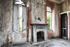 Spooky interior of abandoned ruined house stock photos