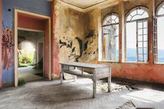 Spooky interior of abandoned ruined house stock images