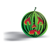 Spooky isolated watermelon Royalty Free Stock Photography