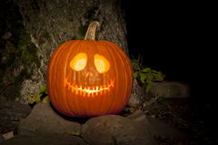 Spooky Jack-o-lantern Outdoors Stock Photos