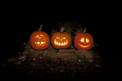 Spooky Jack-o-lanterns Outdoors Stock Photos