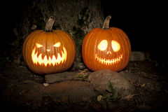 Spooky Jack-o-lanterns Outdoors Royalty Free Stock Photography