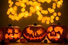 Spooky jack-o& x27;-lanterns Royalty Free Stock Photos