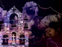 Spooky landscape with church bells. Church bells in a clock tower with dark clouds and lightning. This illustration can be used to visualize the concepts of royalty free stock image