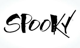 Spooky lettering for Halloween. Handwritten modern calligraphy, brush painted letters. Vector illustration. Template for banners, posters, flyers, greeting Stock Photography